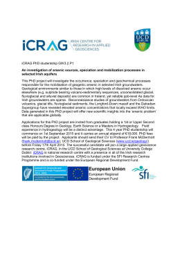 iCRAG PhD studentship GW3.2.P1 An investigation of arsenic