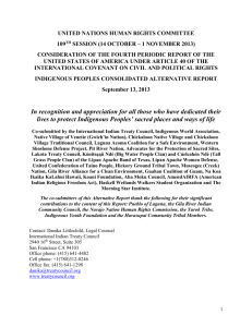 Section I – Indigenous Peoples` Sacred Areas, Free Prior and