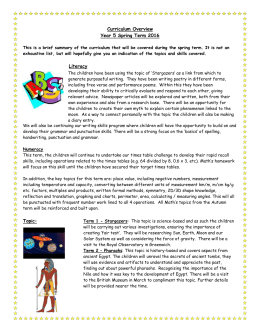 Y5 Curriculum Overview Spring
