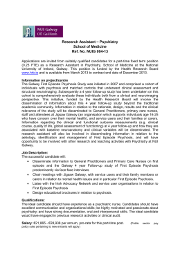 Research Assistant – Psychiatry School of Medicine Ref. No. NUIG