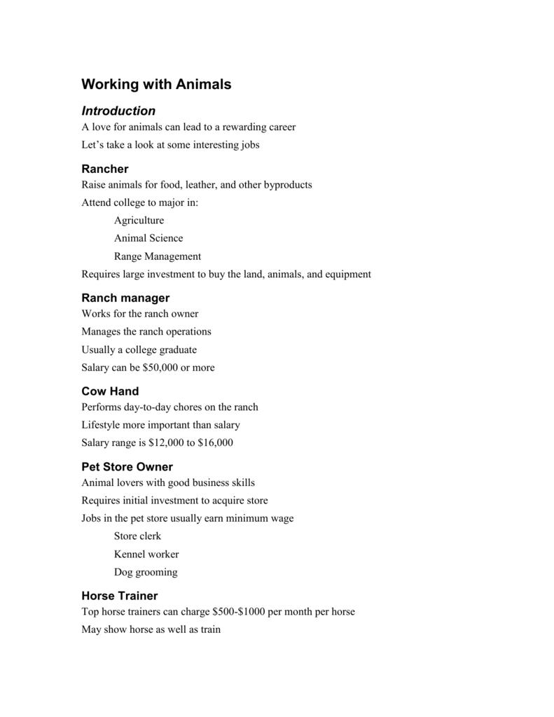 Pp01 Animal Careers
