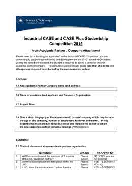 Industrial CASE and CASE Plus Studentship Competition 2015 Non