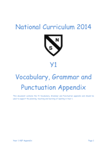Year 1 Vocabulary, Grammar and Punctuation Appendix