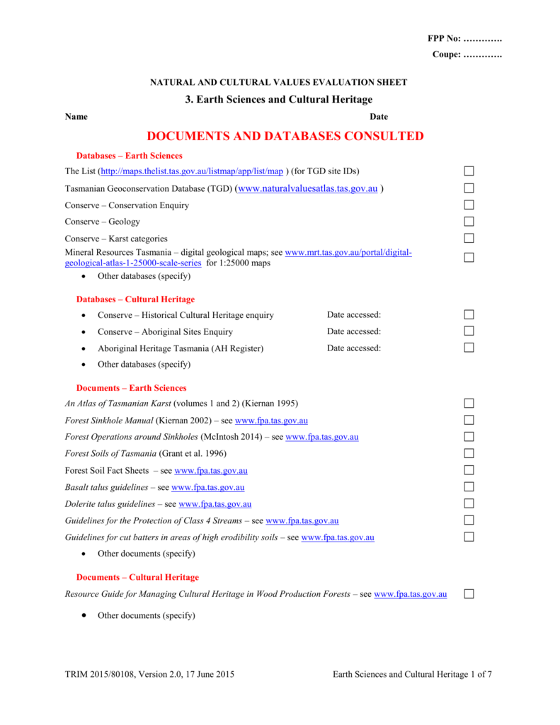 Earth sciences and cultural heritage evaluation sheet