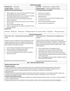 CCSS Unit of Study Grade/Course: Fifth Grade Unit Title: Physical