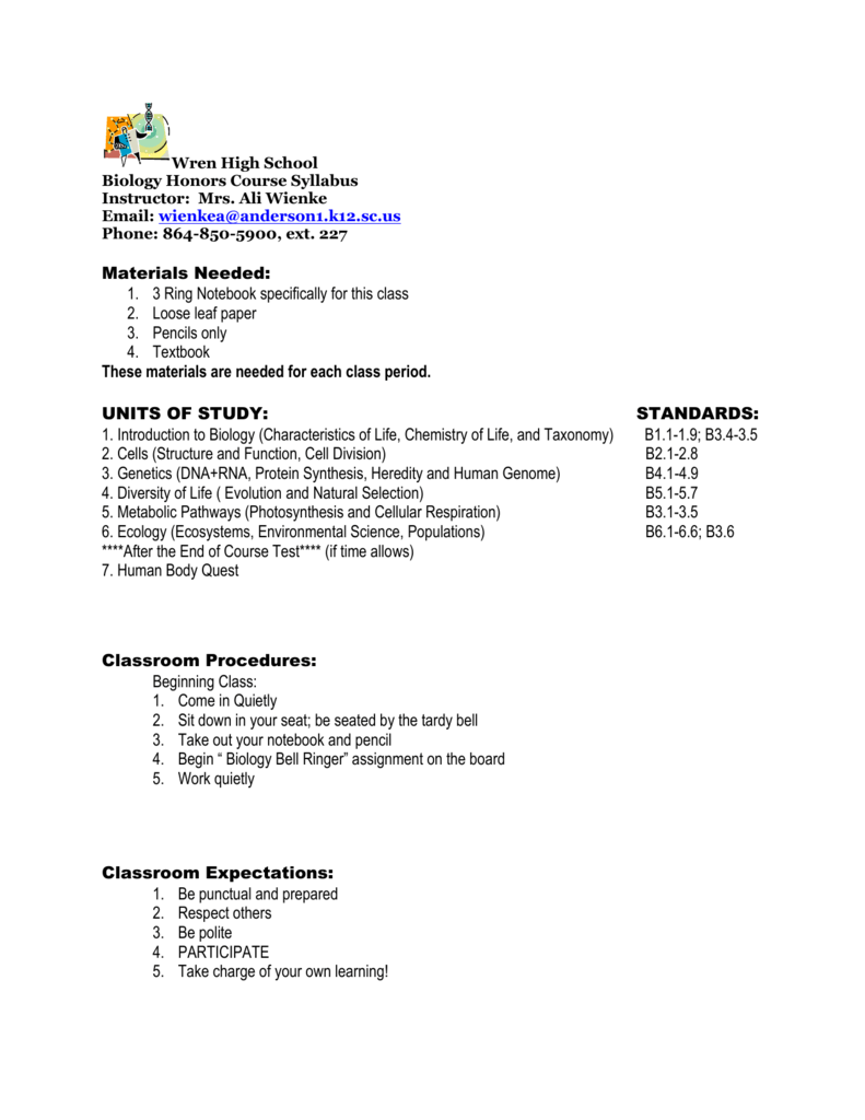 Biology Honors Course Syllabus