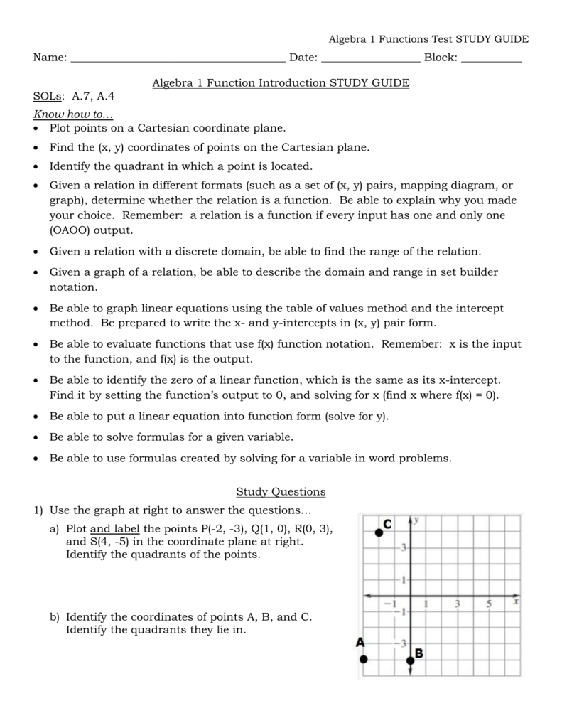 Algebra 1 Functions Test STUDY GUIDE Algebra 1 Functions Test – Algebra 1 Function Notation Worksheet Answers