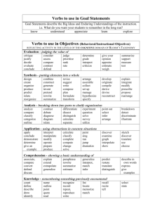 Verbs to use in Goal Statements
