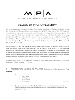 fellow of mpa application - Michigan Pharmacists Association