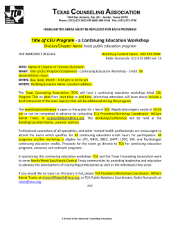 Title of CEU Program - a Continuing Education Workshop Division