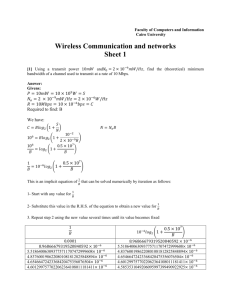 Wireless Communication and networks Sheet 1
