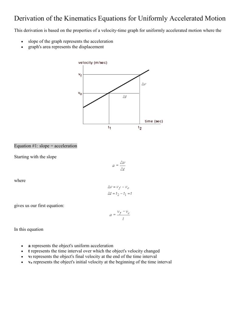 Kinematics Equations Worksheet - Rcnschool