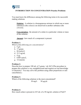 Introduction to Concentration problems - Bio-Link