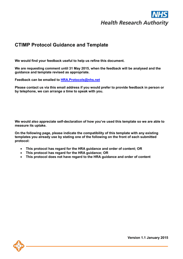 CTIMP protocol guidance template