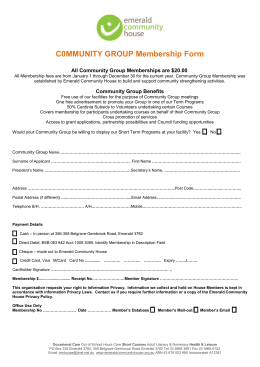 Community Group Membership Form