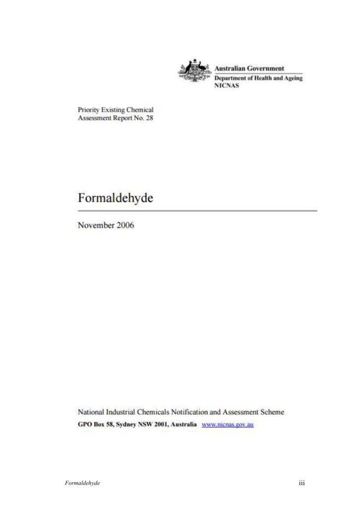 PEC 28 Formaldehyde