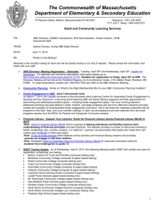 RE: What`s in this Mailing? - Massachusetts Department of Education