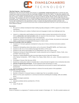 Big Data Engineer Brief Description