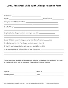 LUMC Preschool Child With Allergy Reaction Form