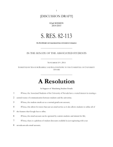 S. Res. 113 - In Support of Mandating Student Emails