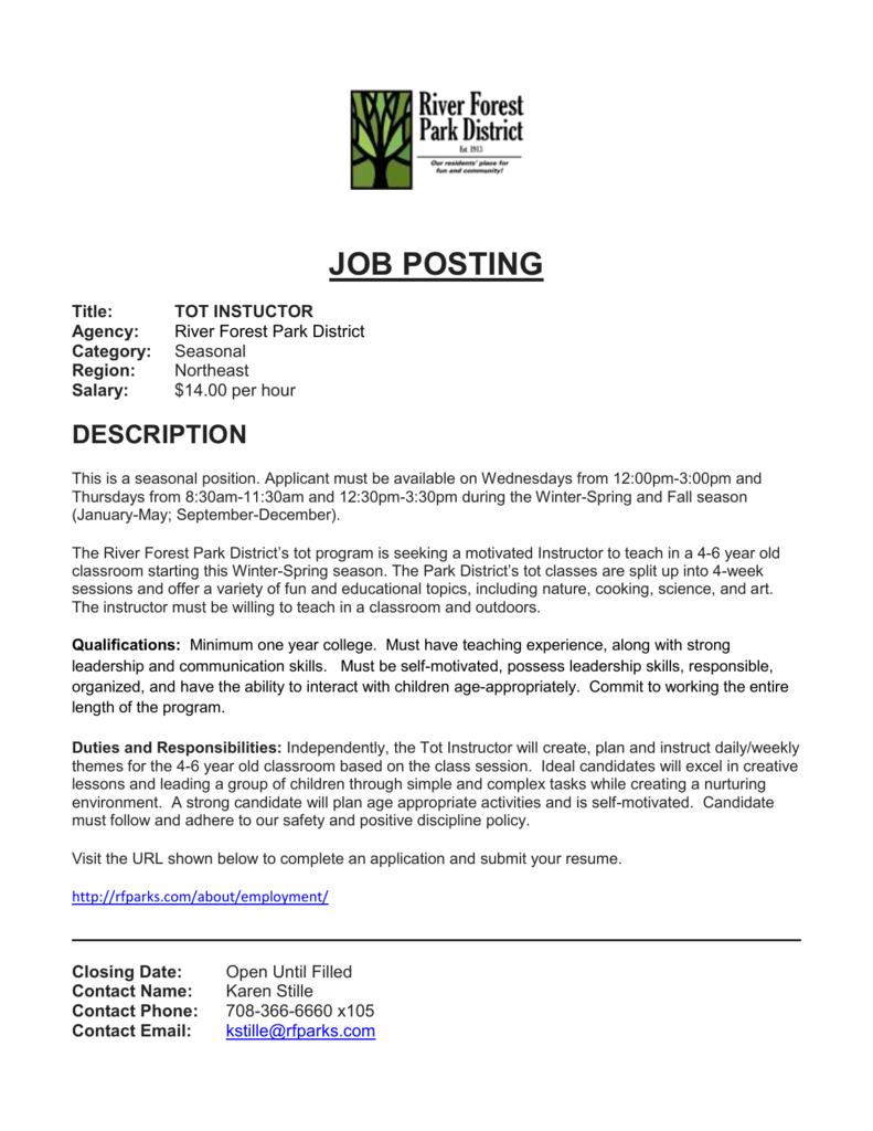 View Full Job Description - River Forest Park District