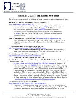 Franklin County Transition Resources – LIU