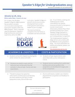 The Undergraduate Speaker`s Edge 2015