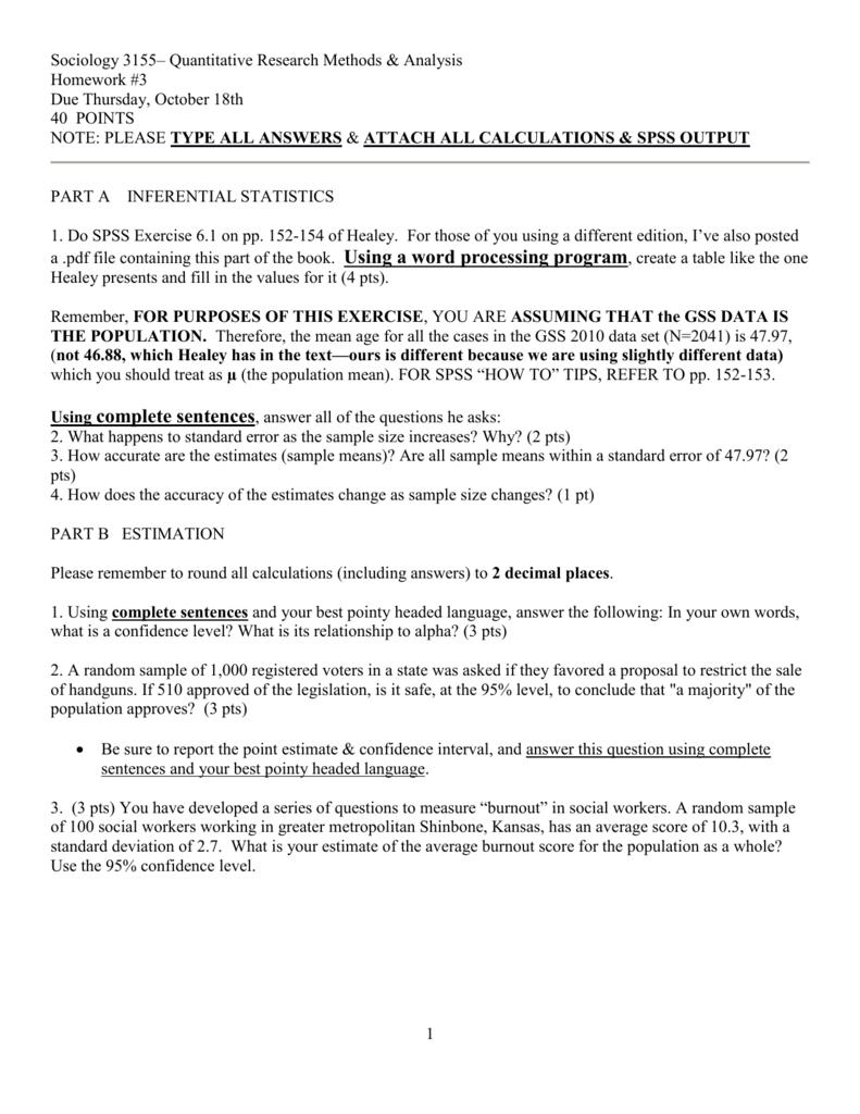 Sociology 3155* Quantitative Research Methods & Analysis