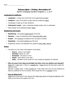 Earth`s Changing Surface Study Guide #1