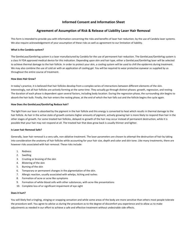 Informed Consent And Information Sheet Agreement Of Assumption