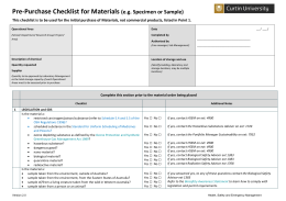 Material Pre-Purchase Checklist - Health, Safety and Emergency