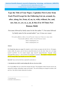 Asrjets Template   American Scientific Research Journal For  Journal Template For Word