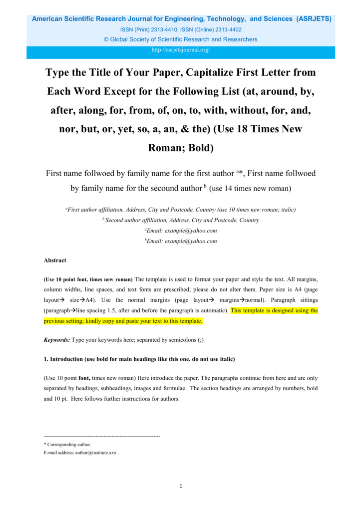 scientific paper word template