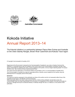 Kokoda Initiative - Annual Report 2013-2014 (DOCX