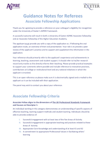 Guidance Notes for Referees Associate Fellowship Applications