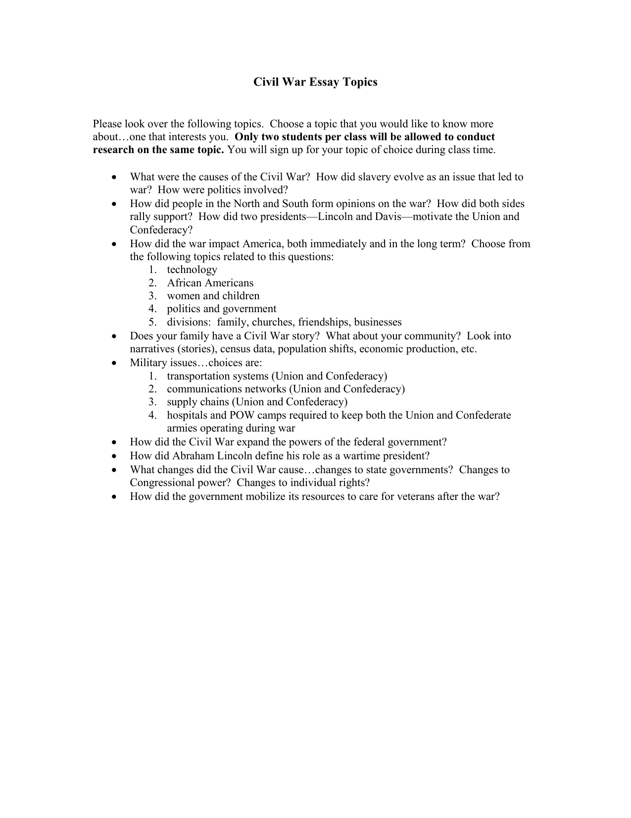 Thesis Example For Compare And Contrast Essay  How To Write A Thesis Sentence For An Essay also Process Essay Example Paper Civil War Essay Topics  Thomas C Cario Middle School Business Essay Sample