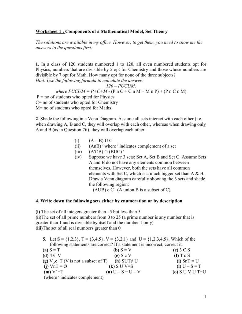 Worksheet 1 : Components of a Mathematical Model