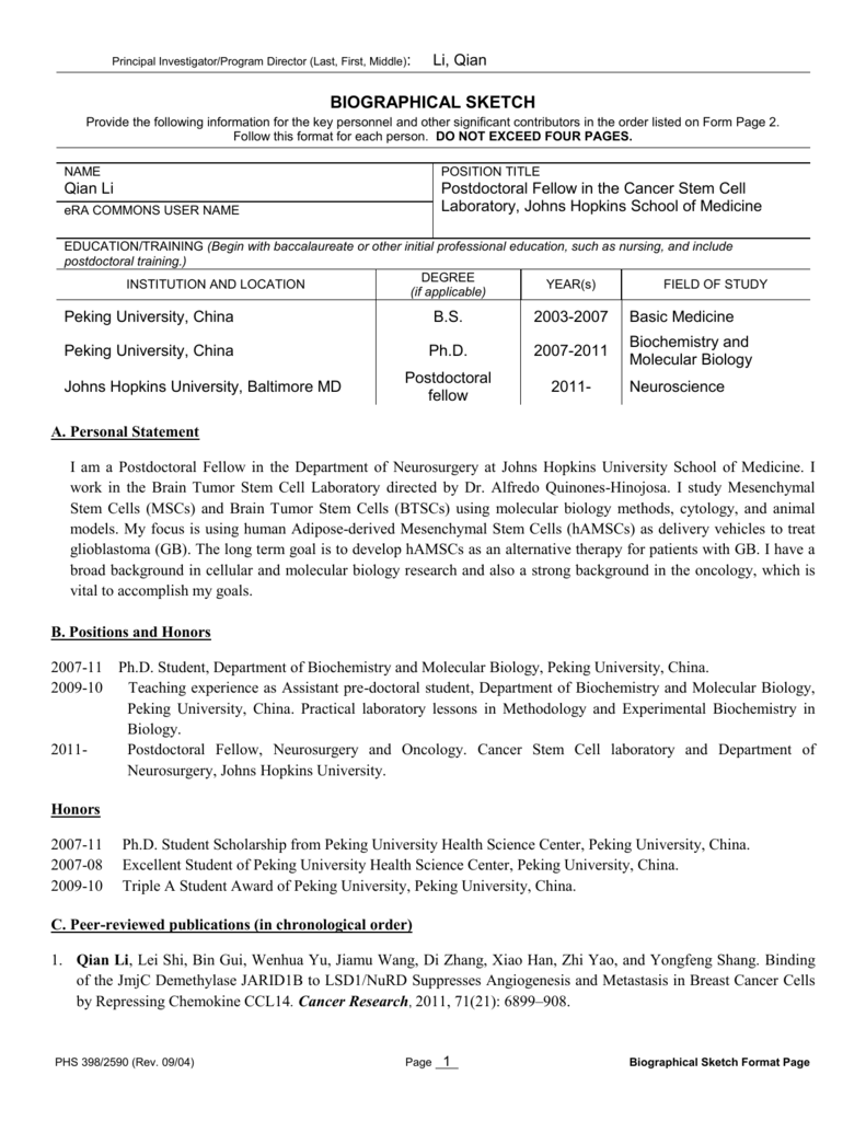 biographical sketch format page
