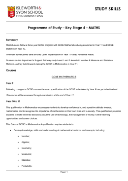Programme of Study – Key Stage 4 – MATHS