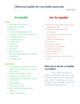 Reference guide for recyclable materials