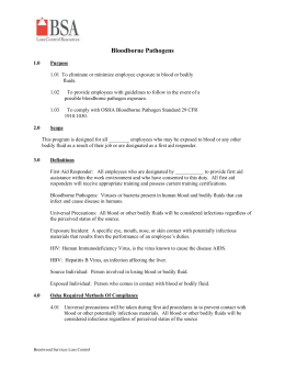 Infection control ii for Bloodborne pathogens policy template