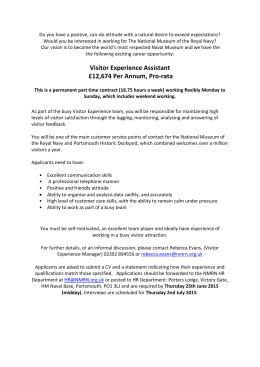 Visitor Experience Assistant £12674 Per Annum, Pro Rata