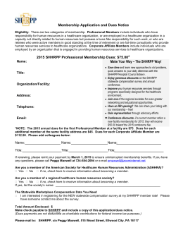 SHHRPP Membership Application 2015