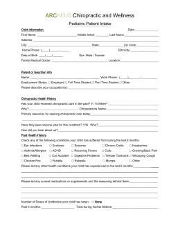 Pediatric Intake Form - ARCHEUS Chiropractic