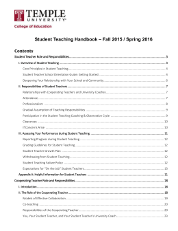 Student Teaching Handbook - Temple University College of Education