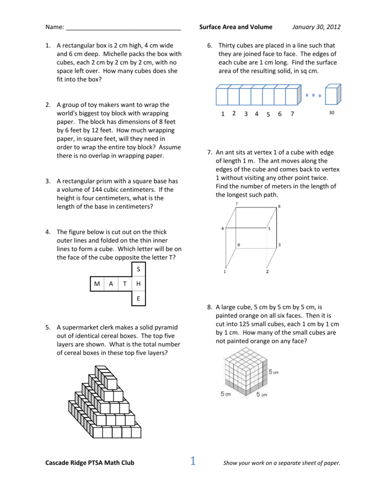 Surface Area And Volume  Cascade Ridge Math Club