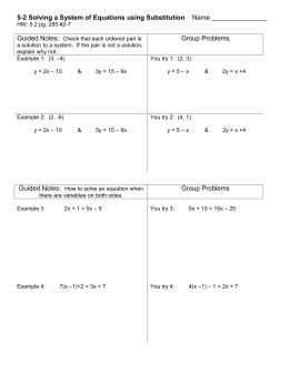 DA 5-2 Solving Systems of Equations Using