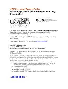 NEW Upcoming Webinar Series Weathering Change: Local