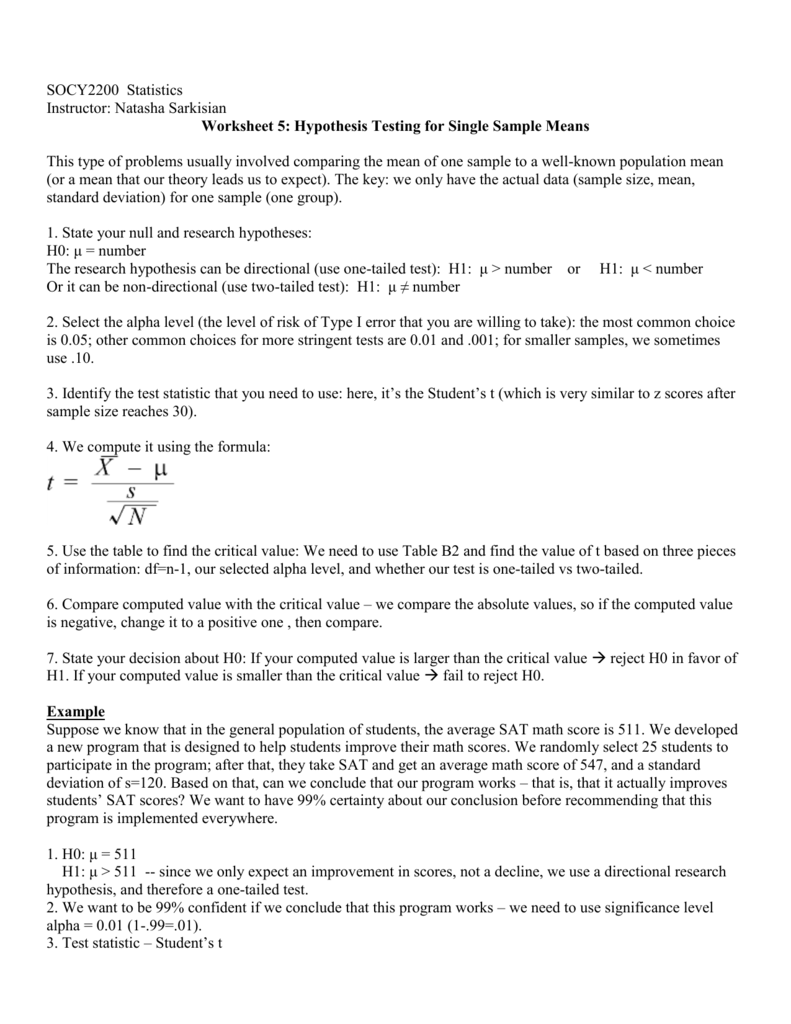 Worksheet 5: Hypothesis Testing for Single Sample Means