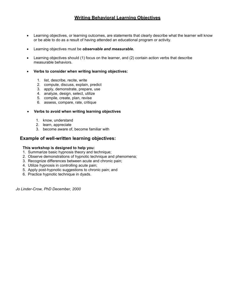 Microsoft Word - Writing Behavioral Learning Objectives and